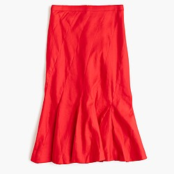 Fluted skirt in stretch linen