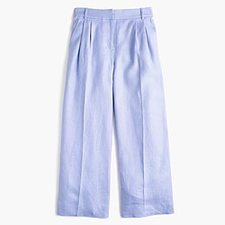 Cropped wide-leg pant in heavy linen