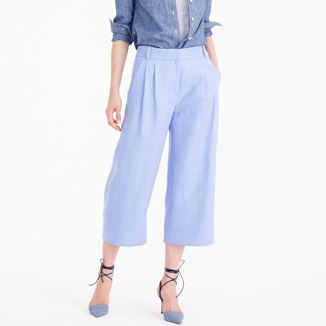 Cropped wide-leg pant in heavy linen