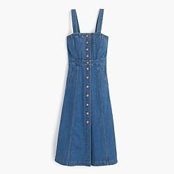 Petite button-front dress in denim