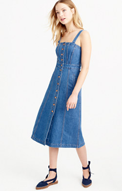 Button-front dress in denim