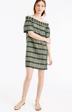 Collection off-the-shoulder dress in yarn-dyed silk