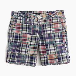 Sunday slim short in vintage plaid patchwork