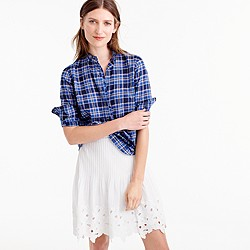 Ruffle popover shirt in ocean plaid