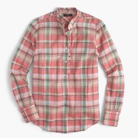 Ruffle popover shirt in melon plaid