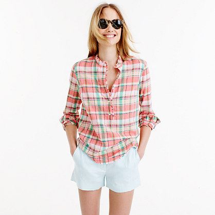 Petite ruffle popover shirt in melon plaid
