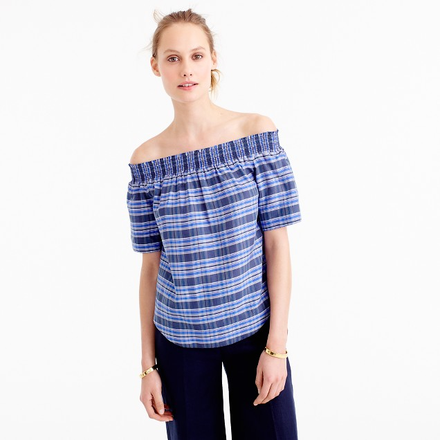 Collection off-the-shoulder top in yarn-dyed silk