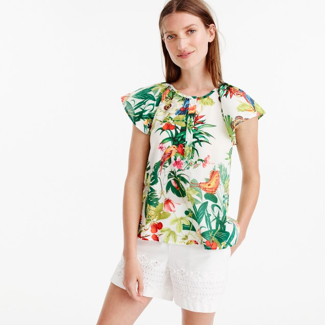 Petite ruffle-sleeve top in Ratti® Into the Wild print