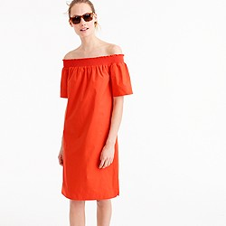 Off-the-shoulder dress in cotton poplin