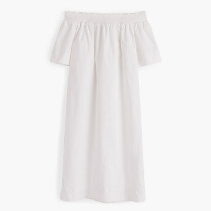 Petite off-the-shoulder dress in cotton poplin