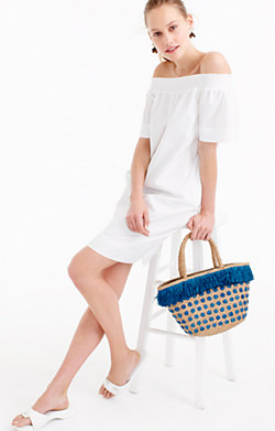 Off-the-shoulder dress in cotton poplin