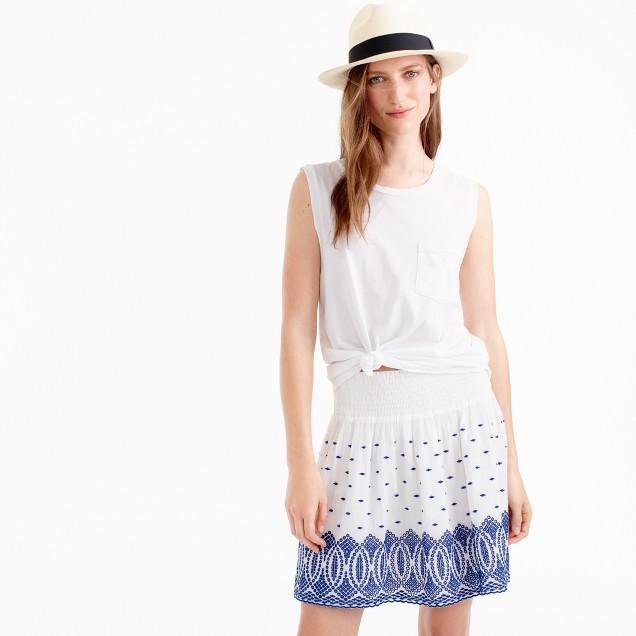 Embroidered gauze eyelet mini skirt