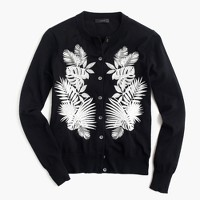 Cotton Jackie cardigan sweater in embroidered palm