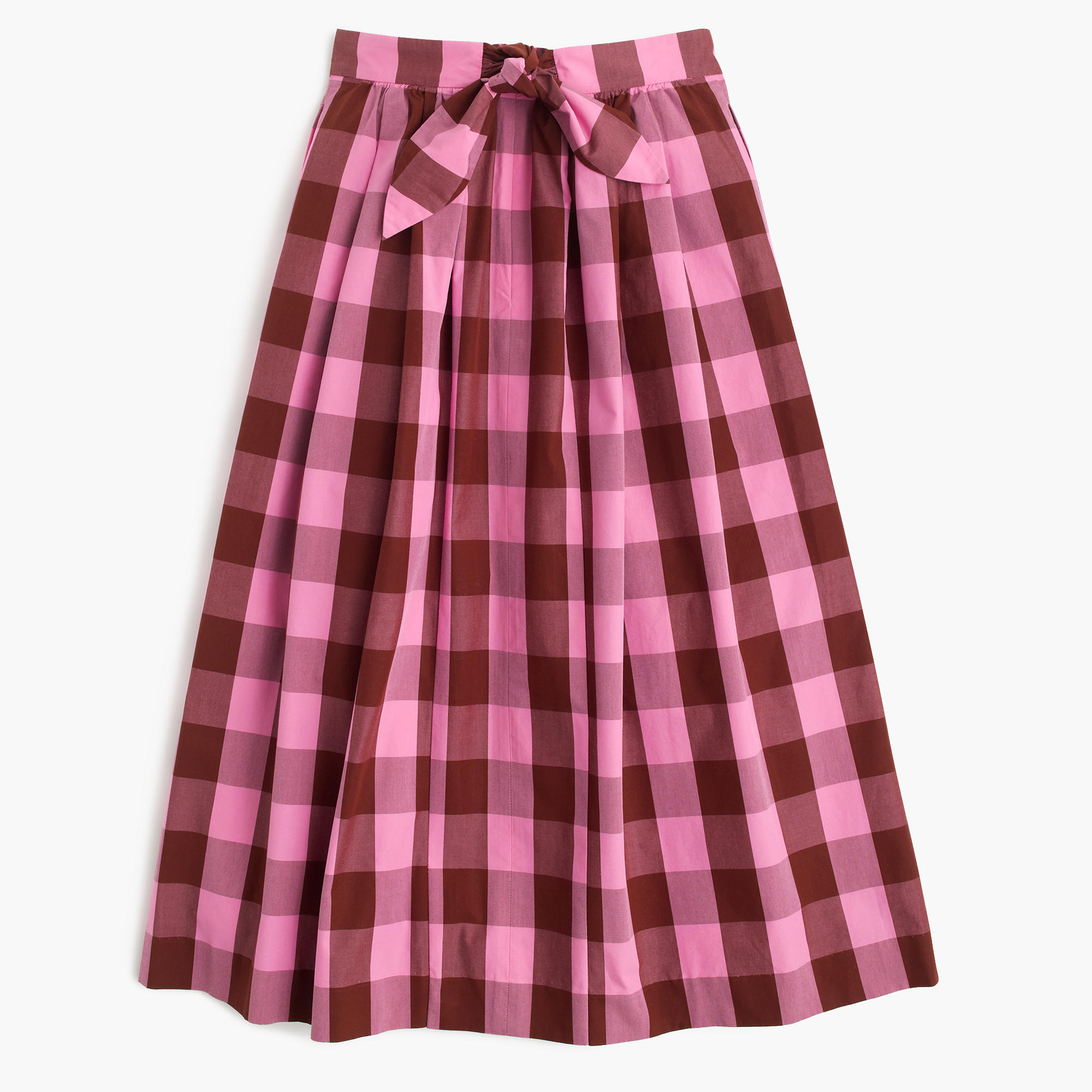 Cotton midi skirt in oversized gingham : Women A-line/Midi | J.Crew