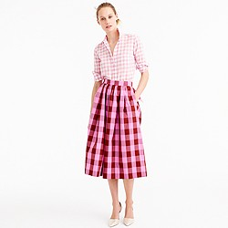 Cotton midi skirt in oversized gingham