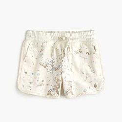 Girls' pull-on knit short in metallic splatter