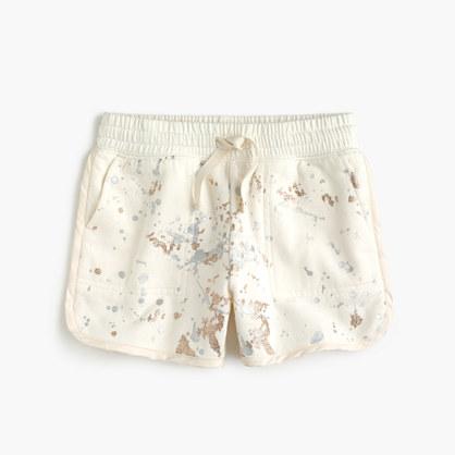Girls' pull-on knit short in metallic splatter