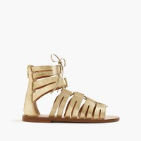 Metallic suede lace-up gladiator sandals