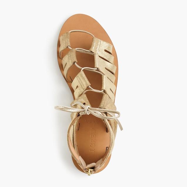 Metallic suede lace-up gladiator sandals