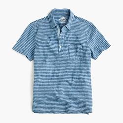 Wallace & Barnes polo shirt in indigo stripe