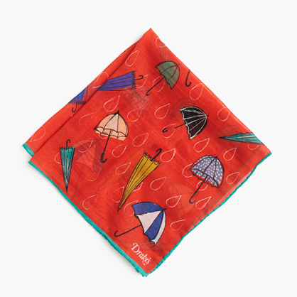 Drake's® cotton-silk pocket square in umbrella print