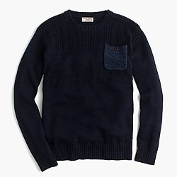 Wallace & Barnes cotton guernsey crewneck pocket sweater