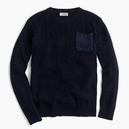 Wallace & Barnes cotton guernsey crewneck pocket sweater