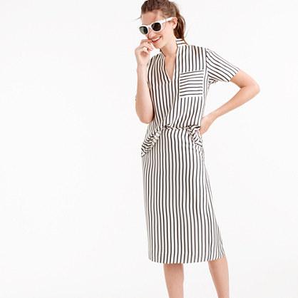 Collection silk striped slip skirt