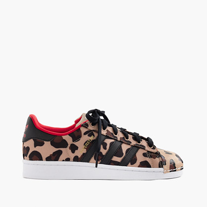 Girls' Adidas® Superstar sneakers larger sizes in cheetah