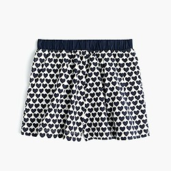 Girls' blousey pull-on short in heart print