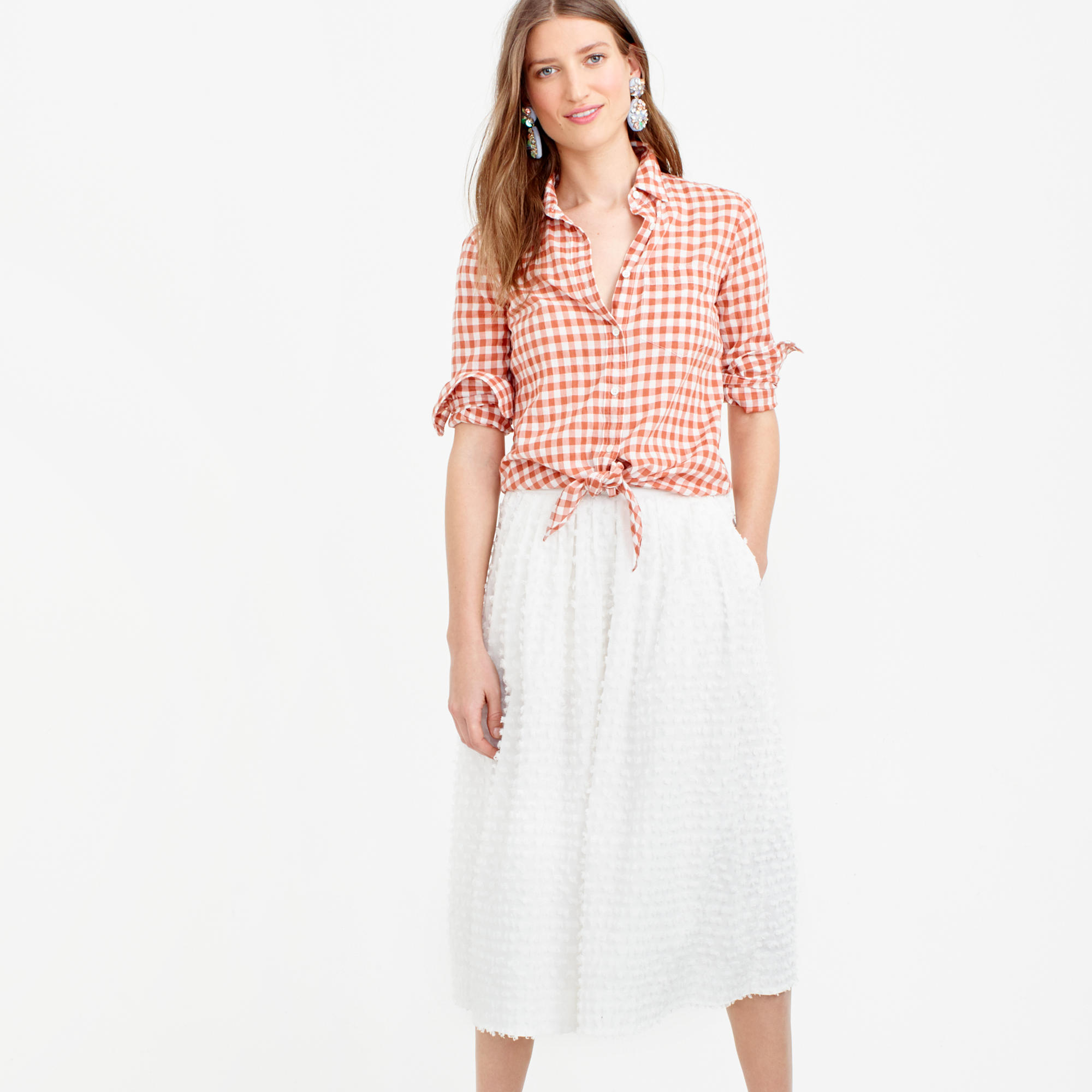 Midi skirt in cotton clip-dot : Women A-line/Midi | J.Crew