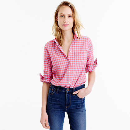 Petite boy shirt in two-tone crinkle gingham
