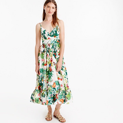 Collection silk ruffle dress in Ratti® Into the Wild print