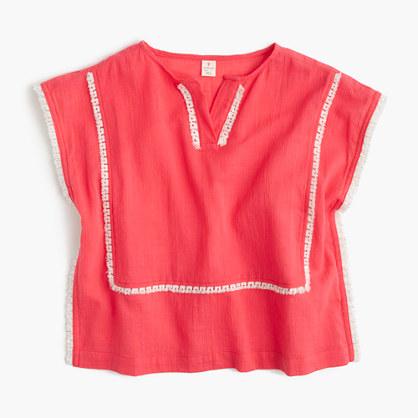Girls' embroidered gauze tunic