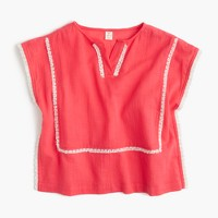 Girls' embroidered gauze tunic