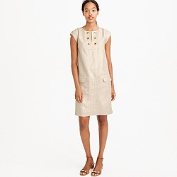 Tall metallic linen shift dress with grommets