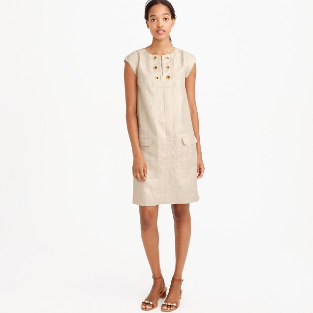 Petite metallic linen shift dress with grommets