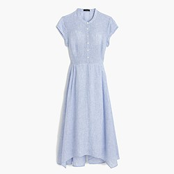 Short-sleeve shirtdress in linen