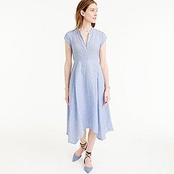 Petite short-sleeve shirtdress in linen