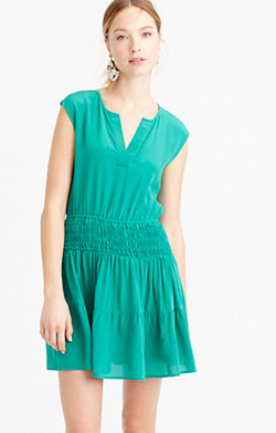 Silk smocked-waist dress