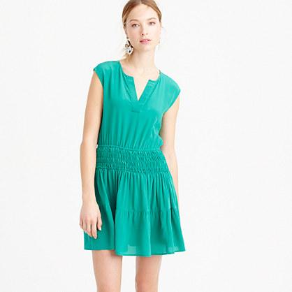 Petite silk smocked-waist dress