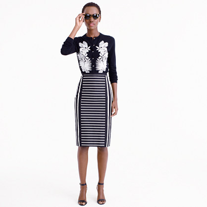Mixed-stripe pencil skirt
