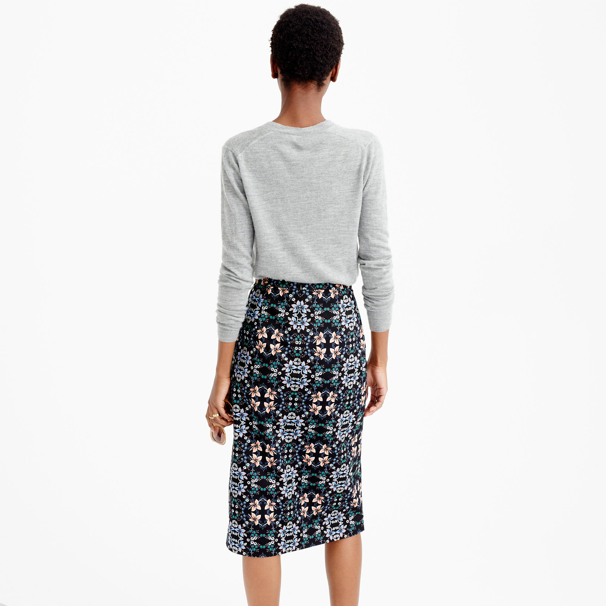 A-line midi skirt in mirrored floral : | J.Crew