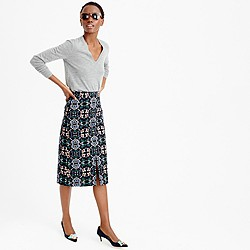 A-line midi skirt in mirrored floral