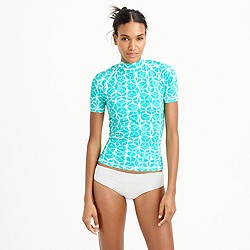 Short-sleeve rash guard in mosaic floral