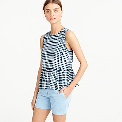 Ruffle-hem silk top in gingham