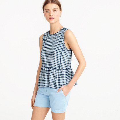 Petite ruffle-hem silk top in gingham
