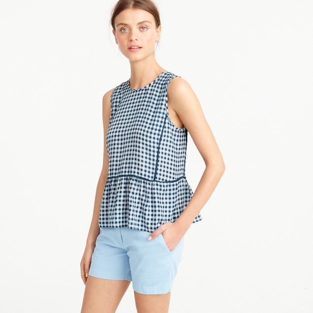 Tall ruffle-hem silk top in gingham