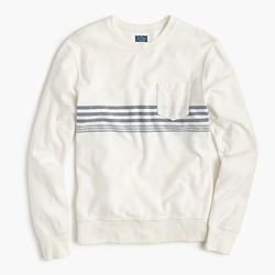 Reverse terry sweatshirt in variegated stripe