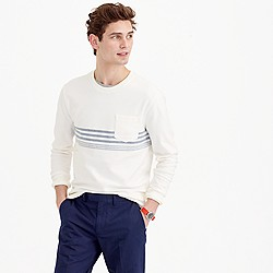Reverse terry sweatshirt in variegated stripe
